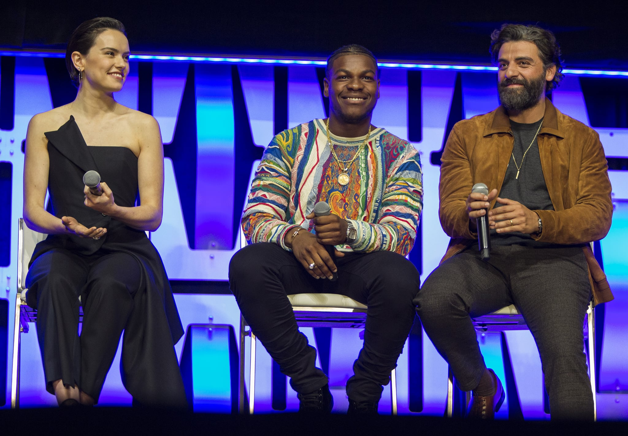 CHICAGO, IL - APRIL 12:  Daisy Ridley, John Boyega and Oscar Isaac during the Star Wars Celebration at the Wintrust Arena on April 12, 2019 in Chicago, Illinois.  (Photo by Barry Brecheisen/Getty Images)