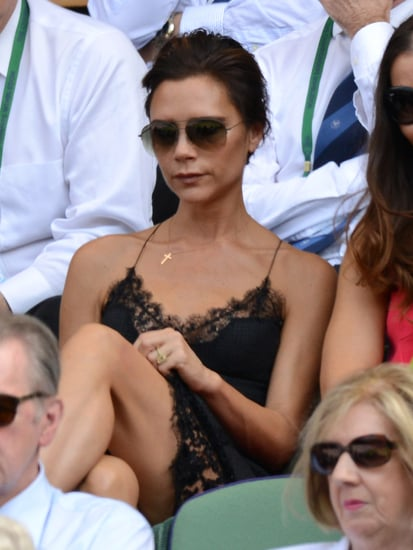 Victoria-Beckham-turned-heads-lace-dress-she-took-her-seat