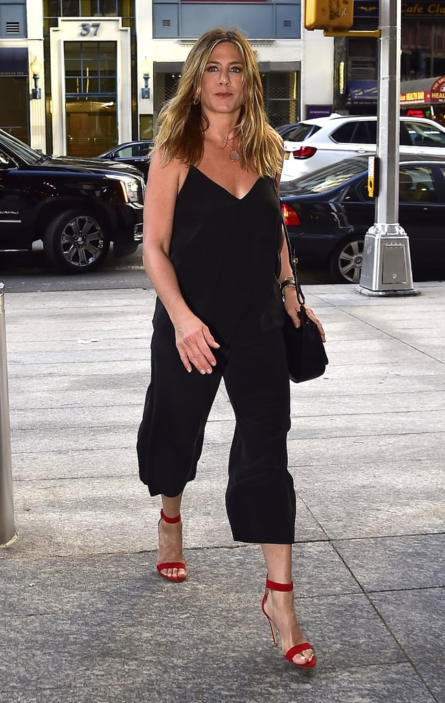 Jennifer Aniston 39 S Black Outfit And Red Heels June 2016 Popsugar Fashion
