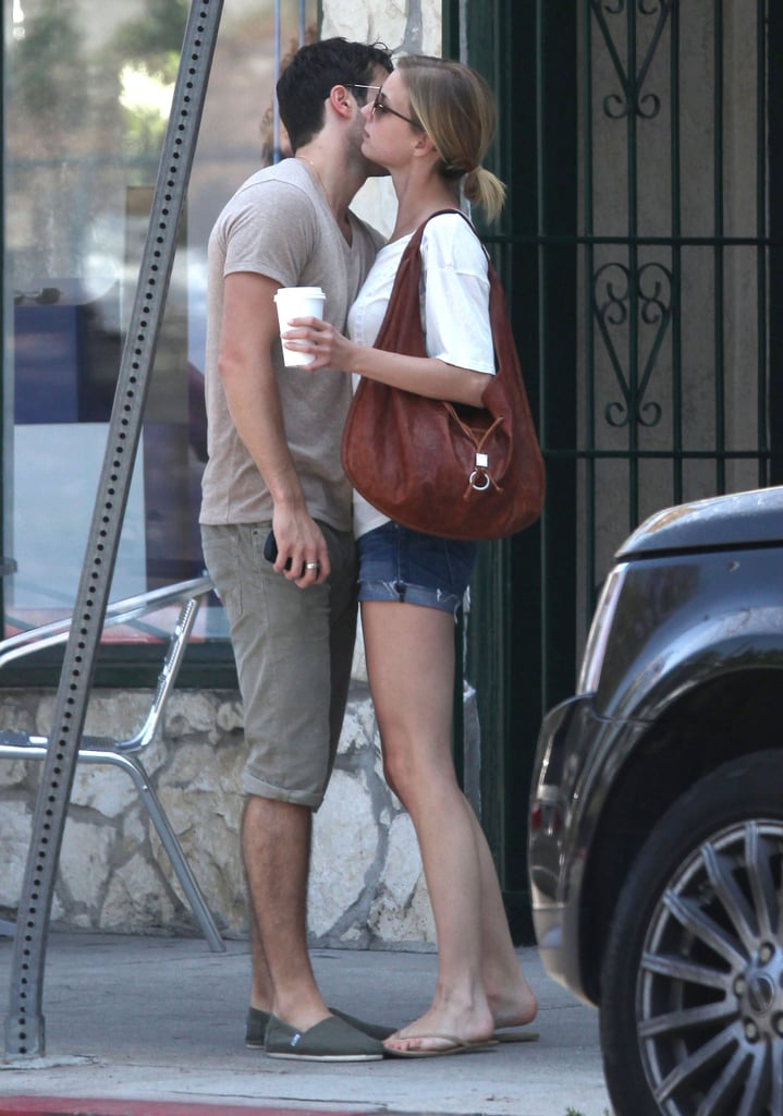 Emily VanCamp hugged Joshua Bowman outside of an LA restaurant.