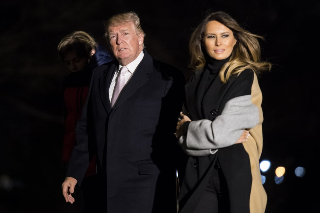 Melania Trump's Coat Makes It Impossible For Her to Hide Her Arrival After a Weekend Trip