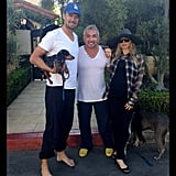 Days before the birth of baby Axl, Fergie and Josh Duhamel shared this photo gearing up their pups for their new arrival.  Source: Instagram user fergie