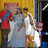 Halle Berry walked by a cardboard cutout of Prince William and Kate Middleton.