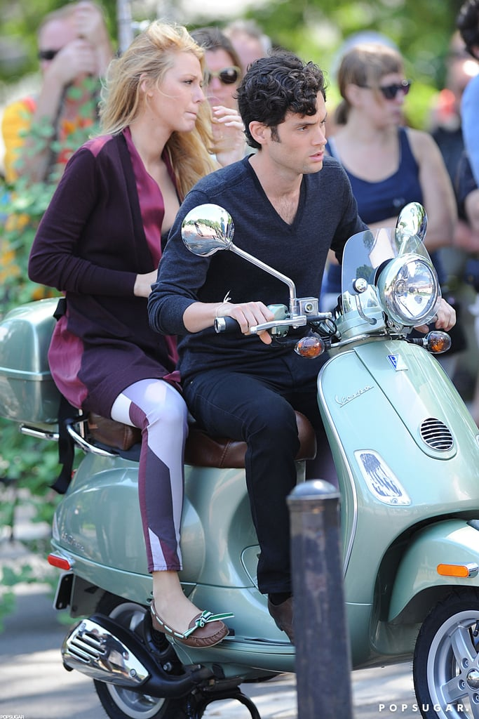 Blake Lively and Penn Badgley got to work on Gossip Girl in NYC today. While shooting an outdoor scene, Blake and Penn tooled around on a teal Vespa. Blake, Penn, and the rest of their small-screen costars have been frequently spotted around Manhattan in recent weeks working on the upcoming fifth and final season of their Upper East Side series. Blake, though, broke from filming to celebrate turning 25 last week. While we marked Blake Lively's birthday with a look at her hottest snaps, she and boyfriend Ryan Reynolds shared an ice cream sundae for two at the city's Serendipity 3.