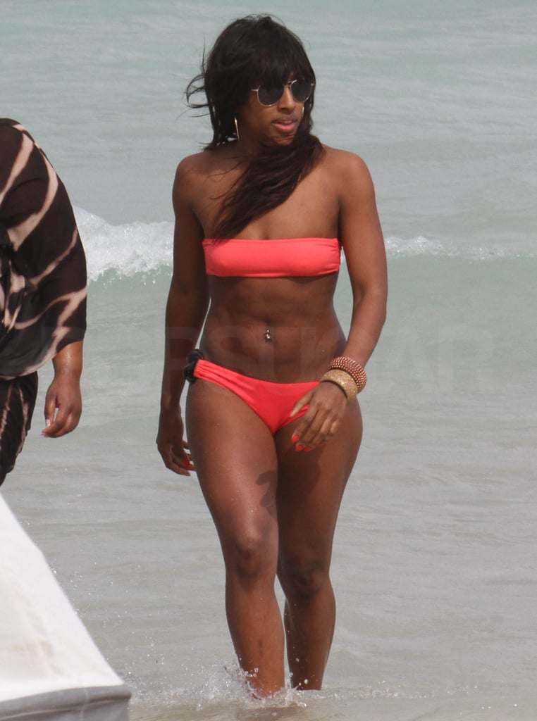 Alexandra Burke looked gorgeous as she emerged from the sea yesterday in a coral bikini. She's in Miami at the moment, holidaying with Vanessa White from The Saturdays, and they've been having lots of fun on the beach and on jet skis too! Before she flew out for her break, Alexandra attended Glamour magazine's tenth birthday celebration in London on Thursday night, alongside pregnant Myleene Klass, and Dermot O'Leary.