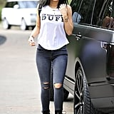 "Kylie sparked a serious controversy when she stepped out in this tee. Being that the slogan stands for ""designated ugly fat friend,"" some felt her style move was offensive."