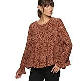 POPSUGAR Tiered-Sleeve Top in Leopard Dot