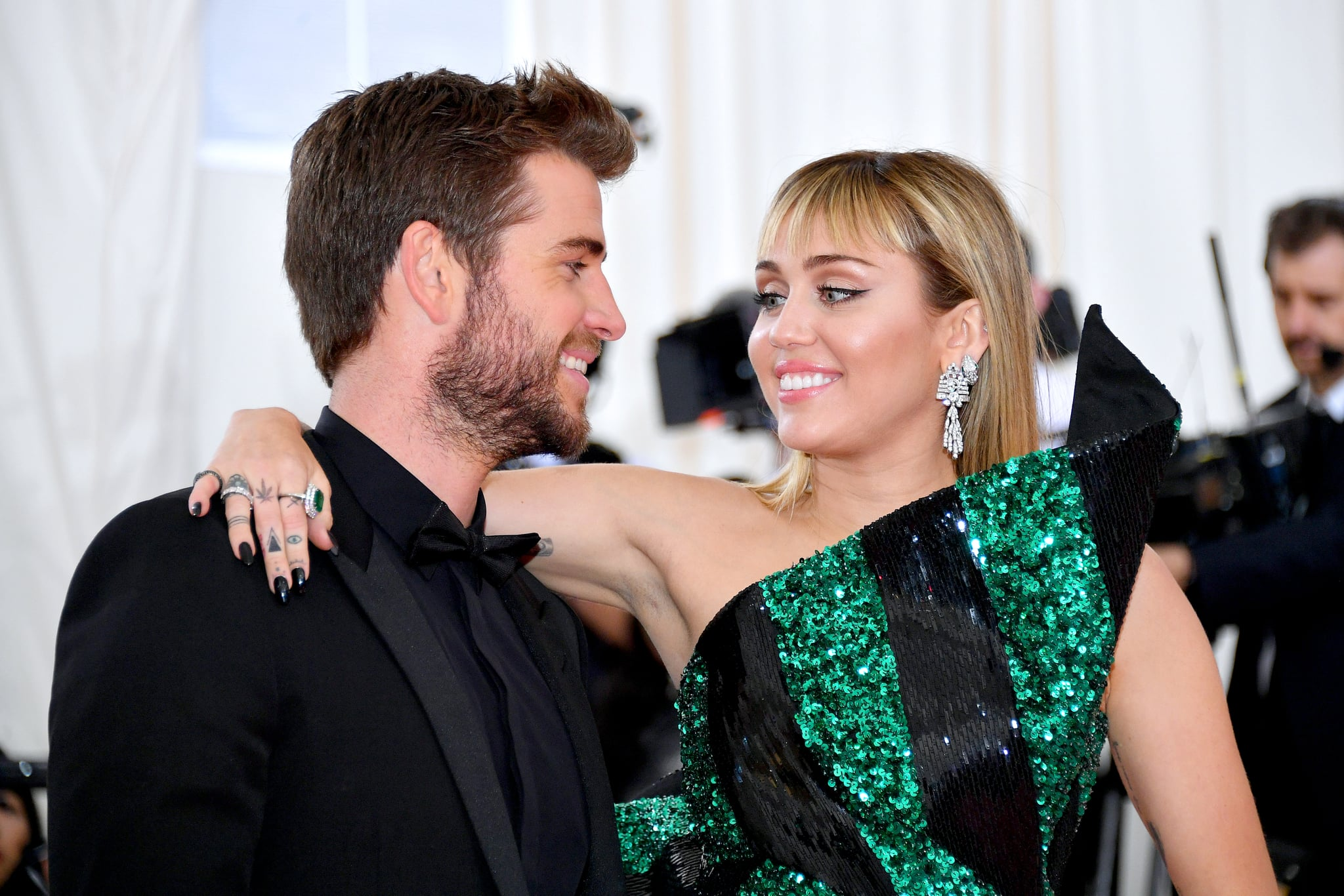 NEW YORK, NEW YORK - MAY 06: Liam Hemsworth and Miley Cyrus attend The 2019 Met Gala Celebrating Camp: Notes on Fashion at Metropolitan Museum of Art on May 06, 2019 in New York City. (Photo by Dia Dipasupil/FilmMagic)