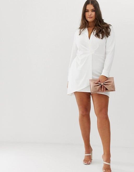 5d38e2ef5f16 ASOS Design Curve Ruched Shirt Mini Dress | Sophie Turner in White ...