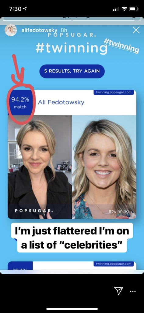 Ali Fedotowsky was flattered to match with herself.