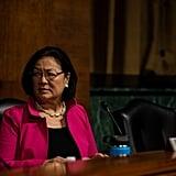 Senator Mazie Hirono of Hawaii awaits the start of the hearing.
