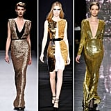 More shimmery gold dresses showed a mix of modern and glamorous gowns and dresses.  From left to right: Jenny Packham, Naeem Khan, Prabal Gurung