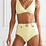Solid & Stripped Annie Belted Ribbed Bikini Briefs ($126.43) and Annie Ribbed Bikini Top ($126.43)