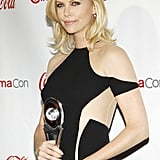 Charlize Theron posed with her award for distinguished decade of achievement in film at the CinemaCon awards ceremony in Las Vegas.
