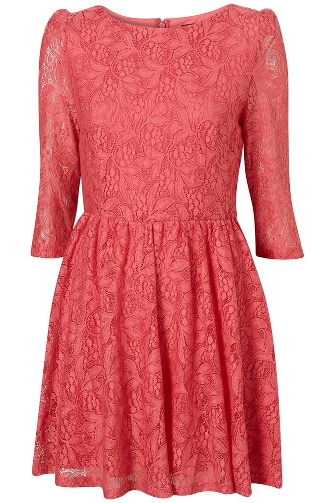 The rosy pink feels extra girlie, perfect for pairing with black tights and ankle boots when the chill sets in.   Topshop Lace Flippy Dress ($98)