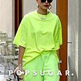 Hailey Baldwin's Neon Green Outfit November 2018