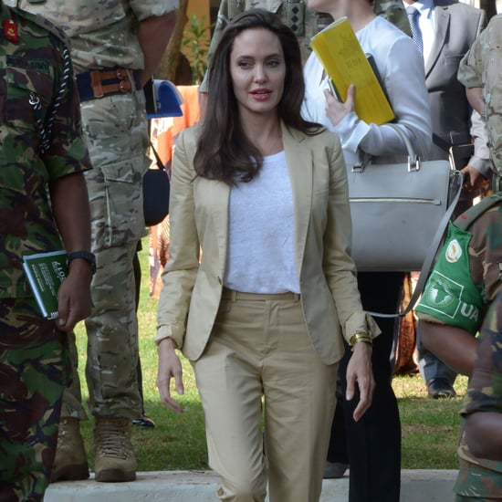 Angelina Jolie Everlane T-Shirt With Suit