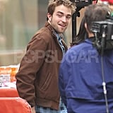 Robert Pattinson arrived on the set of The Today Show in NYC.