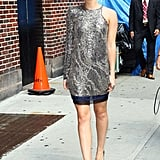 Emma in a Balmain dress before a Late Show With David Letterman taping in 2011.