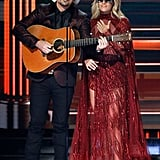 For the opening act, Carrie wore a red sequin caped gown and silver metallic heels.