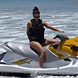 Kim hopped on a water ski.  Source: Casa Aramara
