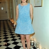 Kate Mara played hostess in a stem-baring, sky-blue shift at Joe Fresh's private dinner this week.