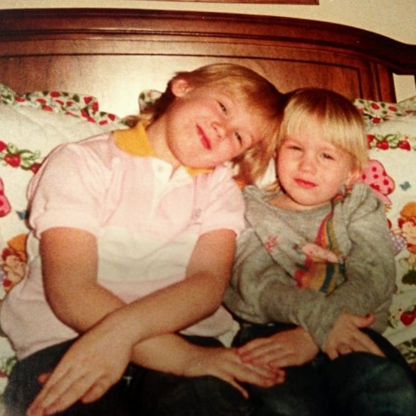 """Tbt to when my lil sis and I did coordinated poses on strawberry shortcake sheets. #ifeelmyadndrogynouschildhoodslippingfartherandfartheraway #justkiddingimplanningasynchronizedPhotoshootlatertoday"""