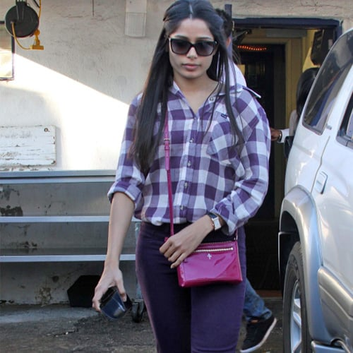 Freido Pinto in Purple Jeans