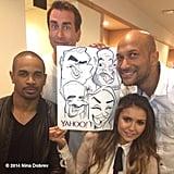 Nina Dobrev smiled next to her caricature.  Source: Instagram user ninadobrev