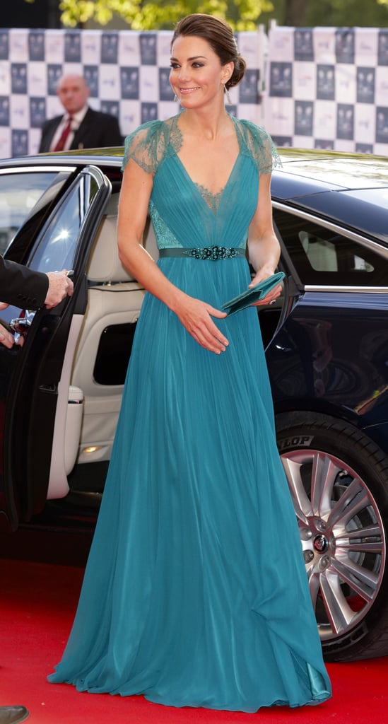 Kate Middleton wore a teal Jenny Packham gown on Friday night.