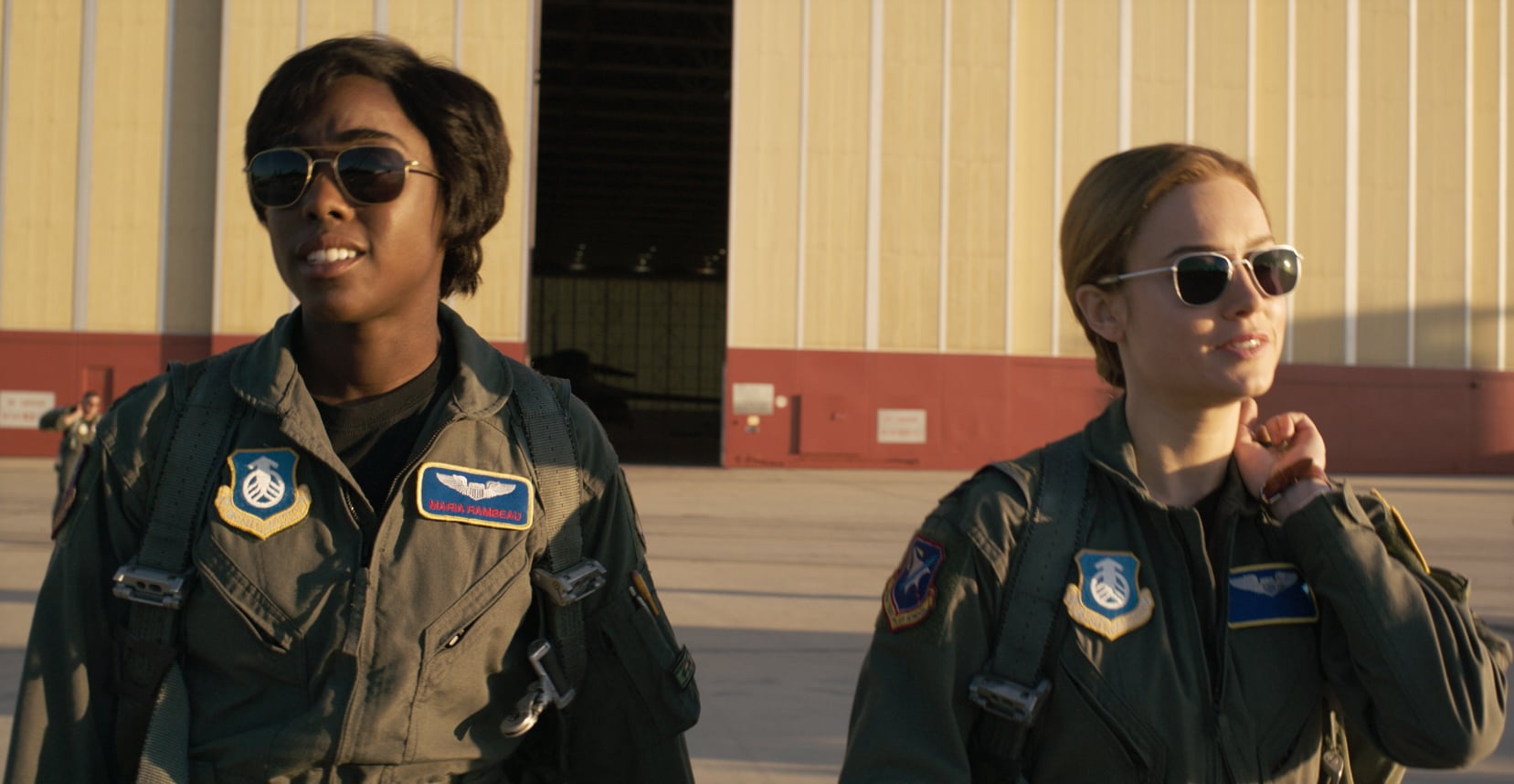 Marvel Studios' CAPTAIN MARVEL..L to R: Maria Rambeau (Lashana Lynch) and Captain Marvel (Brie Larson) ..Photo: Film Frame..©Marvel Studios 2019