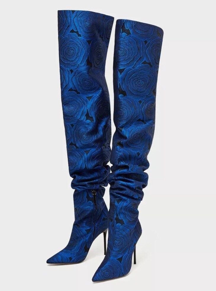 eaa8e25ece5 Our Pick  Zara Floral Print Over the Knee High Heel Boots