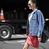 A denim jacket is fail-safe over a miniskirt on a casual day.