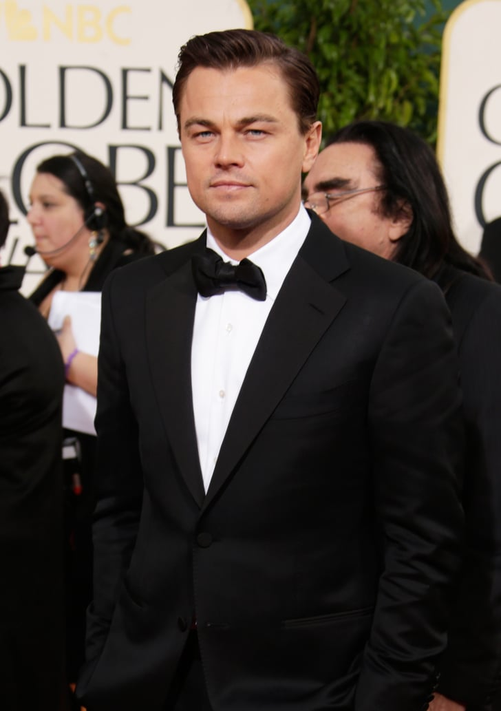 Leonardo DiCaprio wore a tuxedo to the Golden Globes.