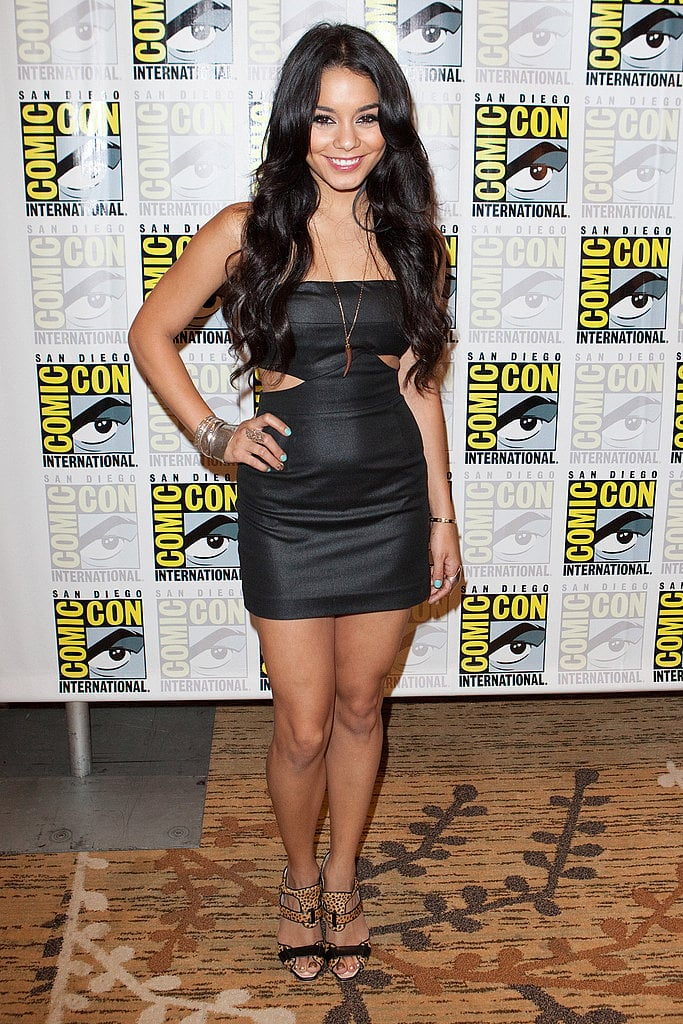Vanessa shows some skin in a cutout Black Halo Caitlin minidress; her leopard sandals are scrumptious.