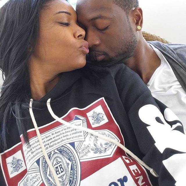 Gabrielle gave Dwyane a sweet kiss.