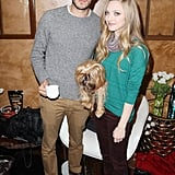 Cute costars Adam Brody and Amanda Seyfried smiled with an adorable dog at the Variety Studio at Sundance.