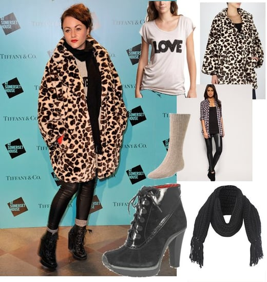 Photo of Jaime Winstone at Somerset House Skate Rink in Leopard Print Coat and Leggings