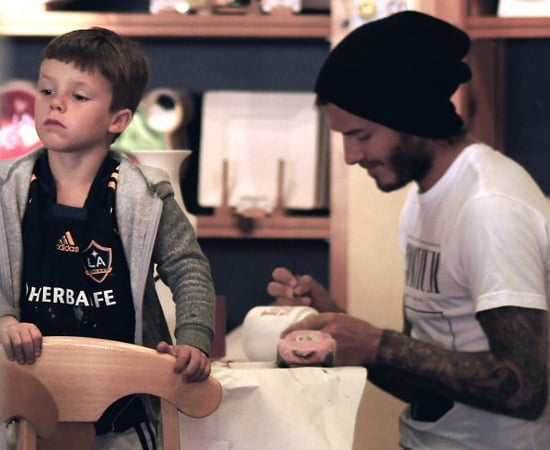 David Beckham and his boys spend the afternoon at Color Me Mine in Beverly Hills, California (November 12).