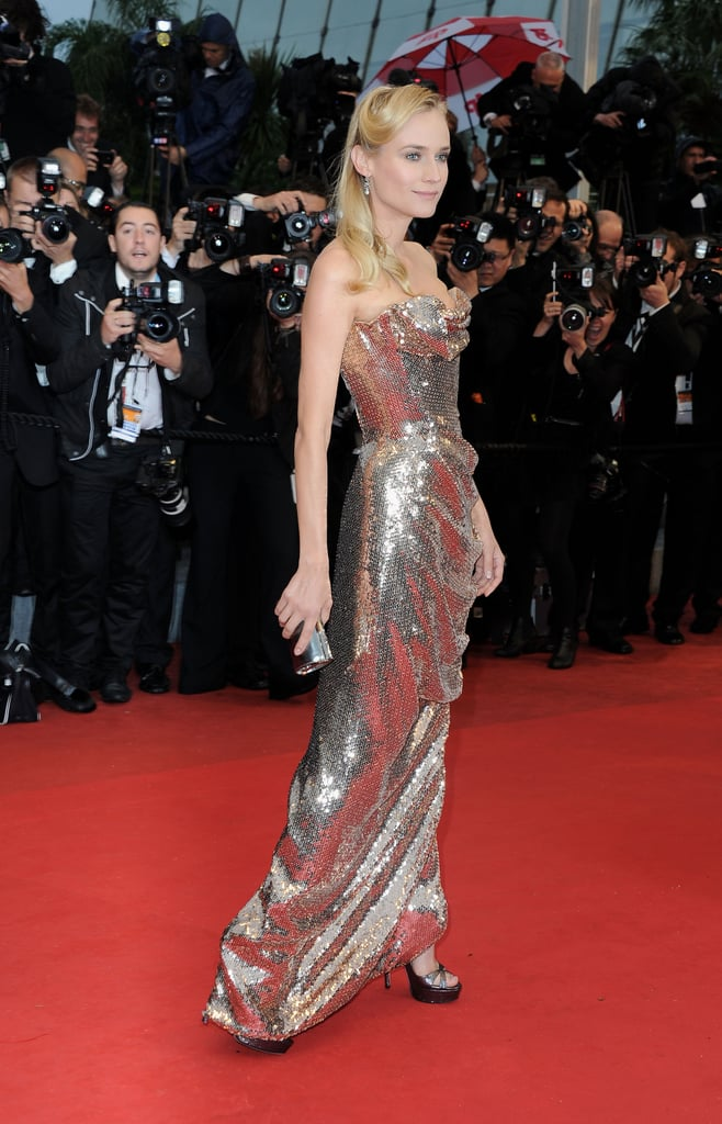 A little rain didn't stopped the glamorous happenings at the Cannes Film Festival in France today. Juror Diane Kruger hit the red carpet for the premiere of Amour in a sequin Vivienne Westwood gown with Joshua Jackson by her side. He helped shield the rain by carrying a large umbrella, which the two posed beneath. Diane and Josh have been busy during their stay in the south of France and have already attended the Calvin Klein party and the Haiti: Carnival benefit. They didn't pop up at last night's Vanity Fair and Gucci bash though Salma Hayek, Naomi Watts, and Jennifer Connelly were on hand for the fun. There's still a week left of Cannes excitement, so make sure to follow PopSugar on Twitter for the latest at all the events!