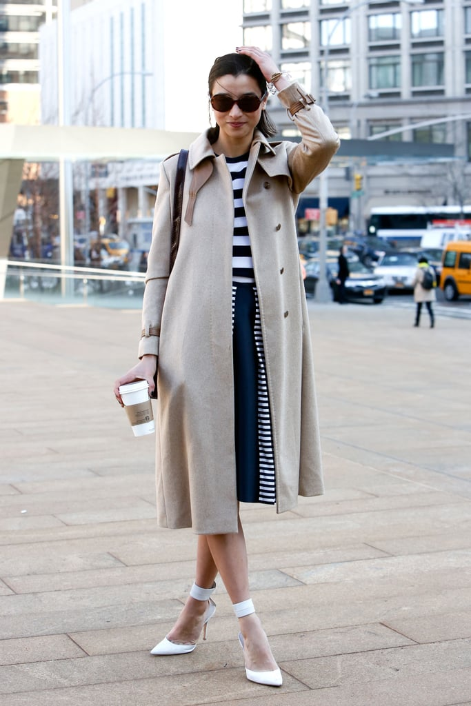 Stripes on stripes with a nod to Spring via chic white heels.