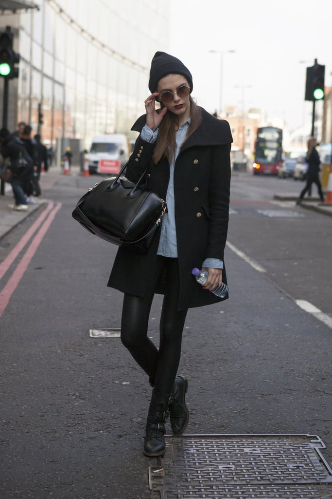 Slick Leather And Biker Boots Got A Warm Winter Complement From This Street Style At London Fashion Week Fall 2013 Popsugar Fashion Uk Photo 49
