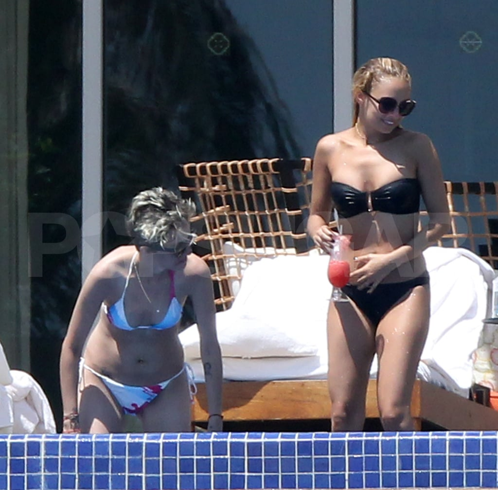 Nicole Richie and Samantha Ronson jumped into a pool in Cabo.
