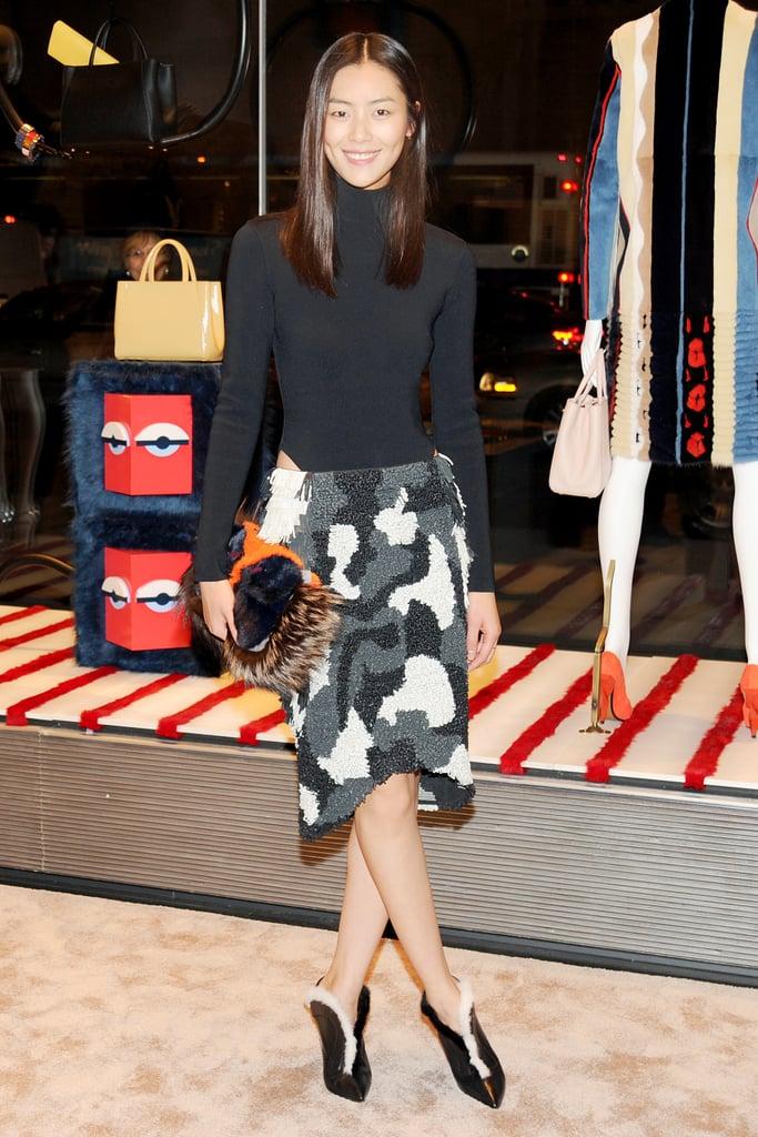 Liu Wen in Fendi at Vogue's Fendi Buggies launch.