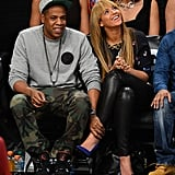 Beyonce Knowles wore bright pumps and leather pants in NYC.