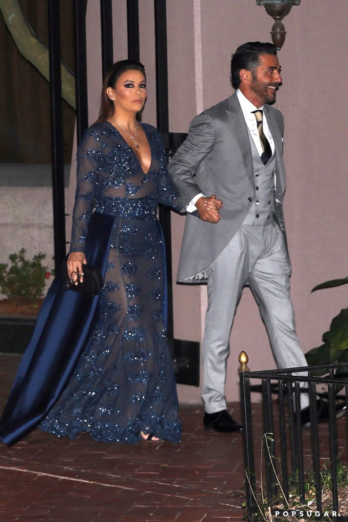 c17279be69b Eva Longoria Sheer Blue Dress at Serena Williams s Wedding ...