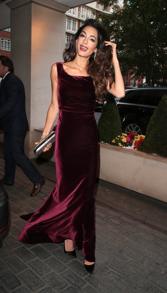 Amal Clooney Looks So Freakin' Stunning in This Red Velvet Gown, No Wonder She's Beaming