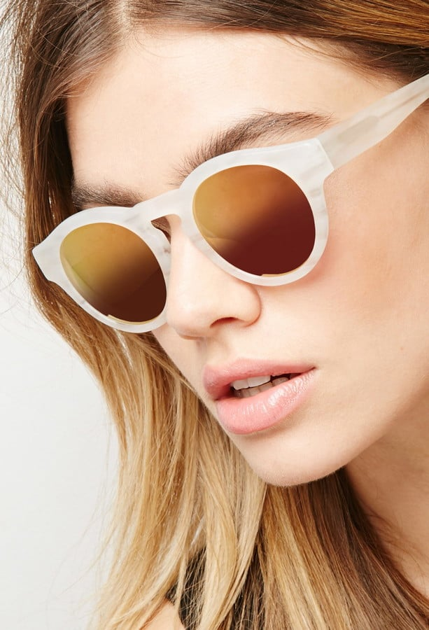 Forever 21 sicky eyewear matte ivory mirrored sunglasses ($210)