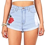 Vibrant Women's Juniors High Rise Rose Embroidered Denim Shorts