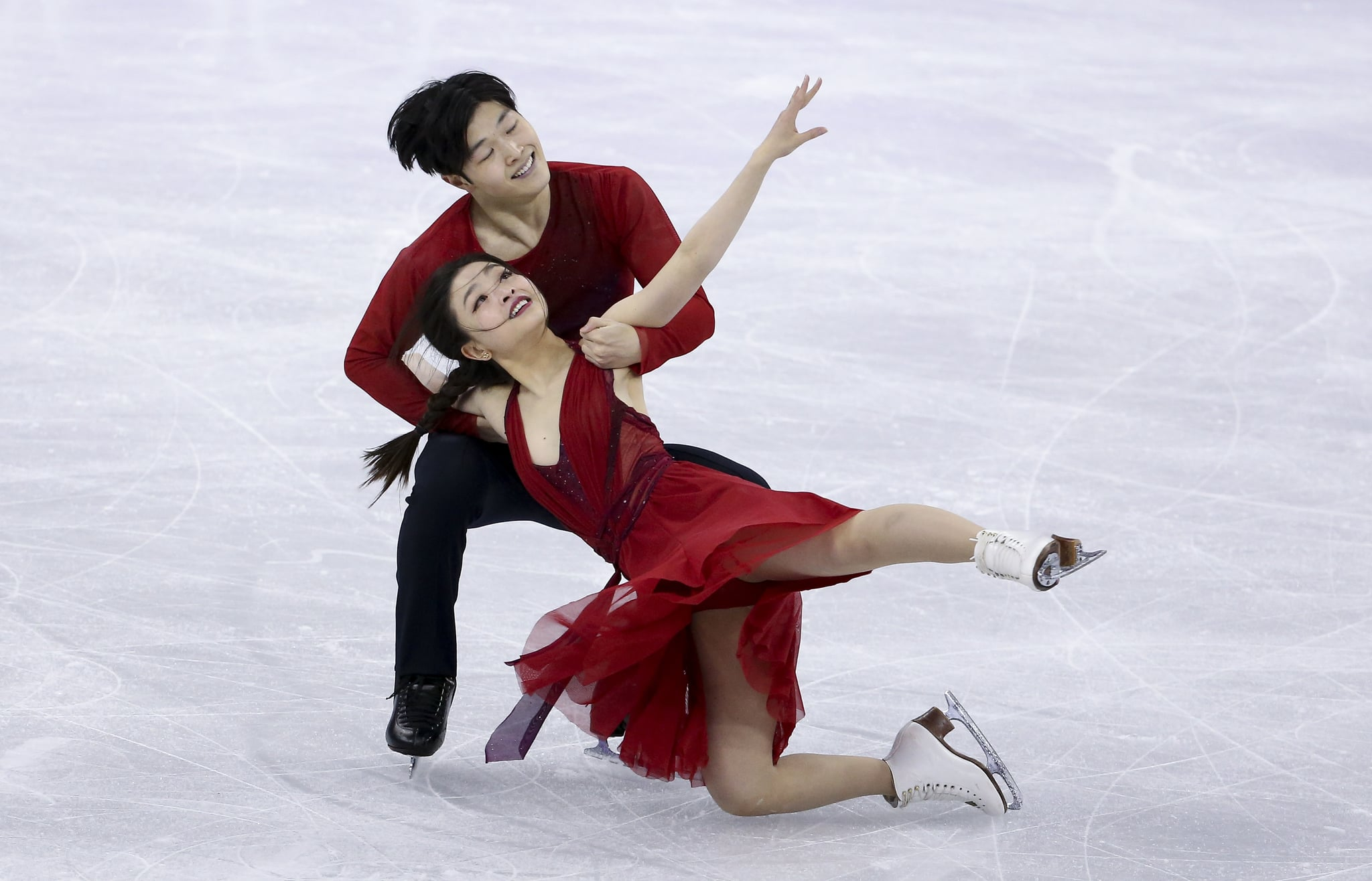 GANGNEUNG, SOUTH KOREA - FEBRUARY 20: Maia Shibutani and Alex Shibutani of USA compete during the Figure Skating Ice Dance Free Dance program on day eleven of the PyeongChang 2018 Winter Olympic Games at Gangneung Ice Arena on February 20, 2018 in Gangneung, South Korea. (Photo by Jean Catuffe/Getty Images)